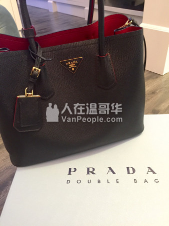 8c5120214f44 ... switzerland prada saffiano cuir double bag black red 604 779 7576 6fc42  fe50e