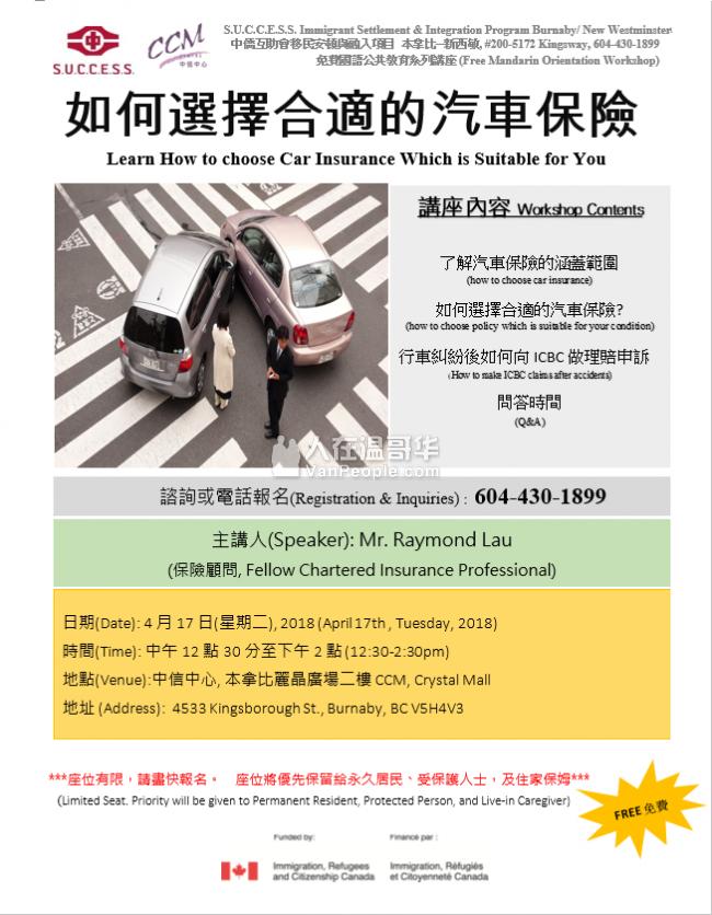 中侨本拿比讲座  如何選擇合適的汽車保險- 國語