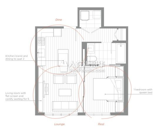 出租Surrey中心全新高层公寓一房一卫 近SFU Surrey校区