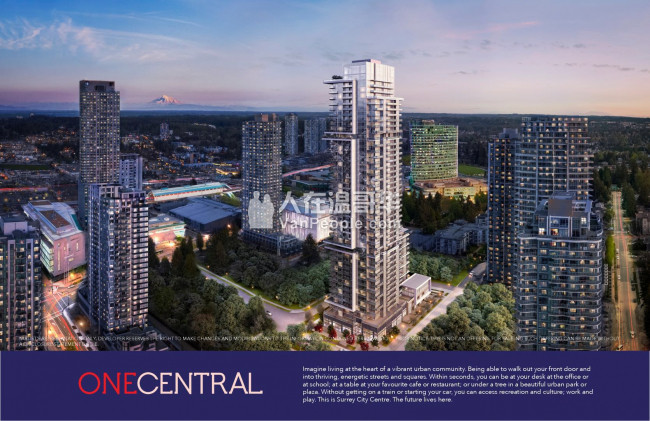 【168温哥华楼花买卖】One Central  1 房 37. 9万! 2  房 2卫50 万 素里市最高天