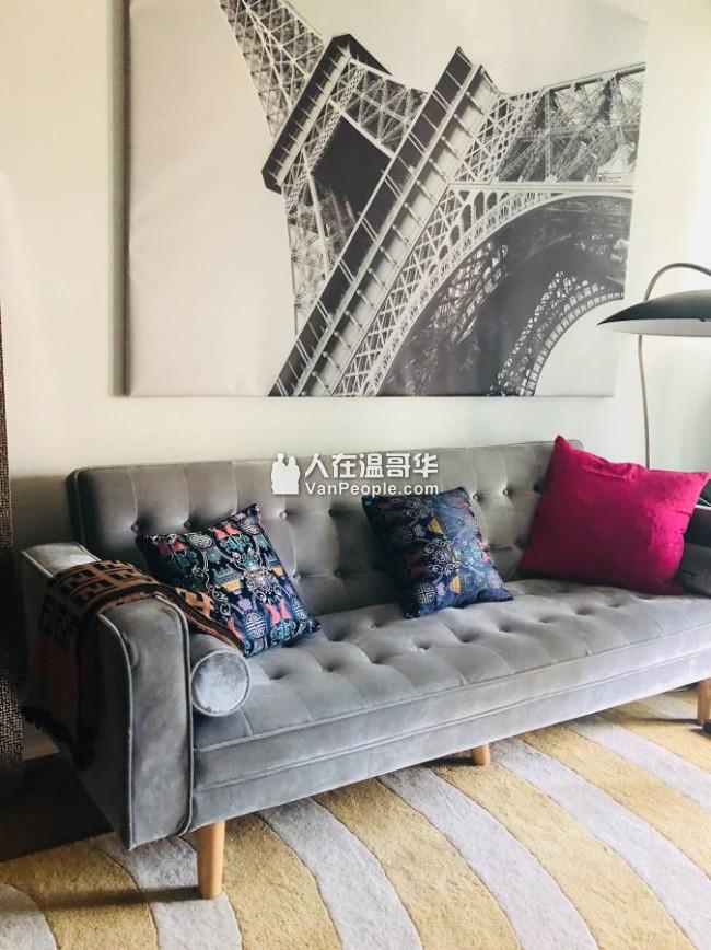 DOWNTOWN漂亮和新装修的家具一卧室+书房公寓