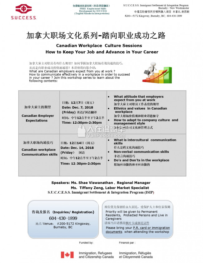 中侨本拿比中心免费就业讲座-加拿大职场文化系列,踏向职业成功之路(7/12和14/12)