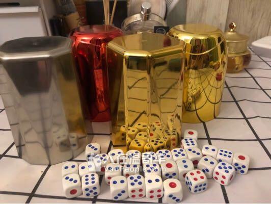 骰子骰盅一套电镀色