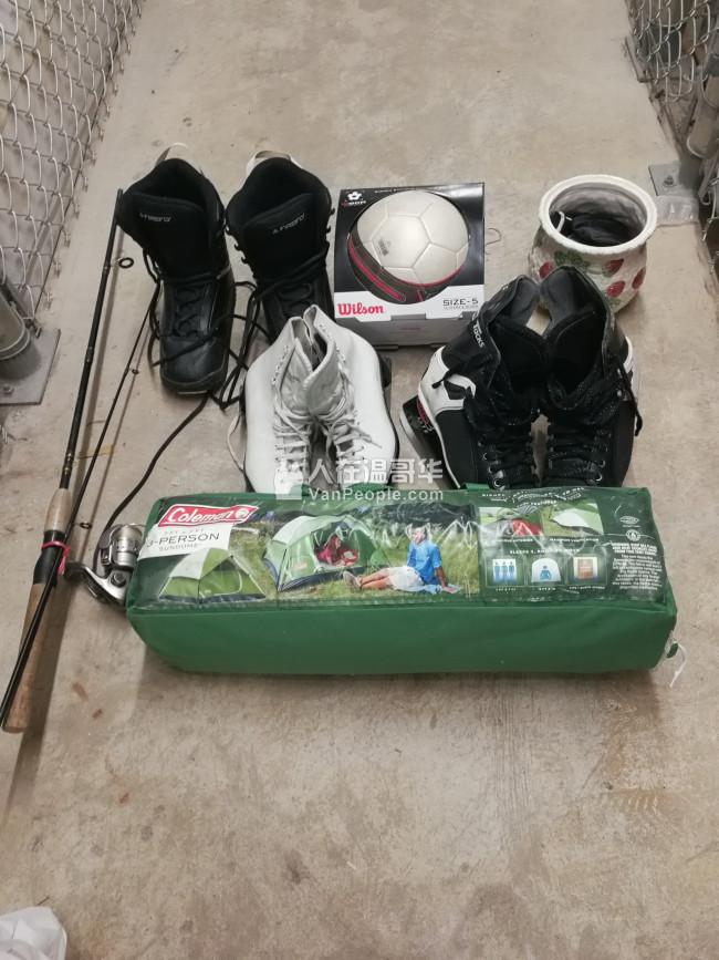 最后几天回流卖: 滑雪板ski, snowboard, 轮排溜冰鞋,冰刀溜冰鞋, 各种球类,跳绳,哑铃,野炊炉等等