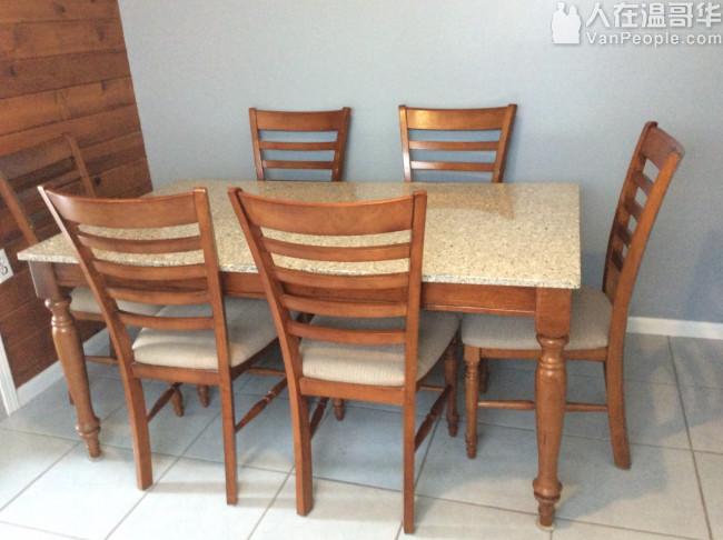 二手花崗石餐桌+ 6 張餐椅組