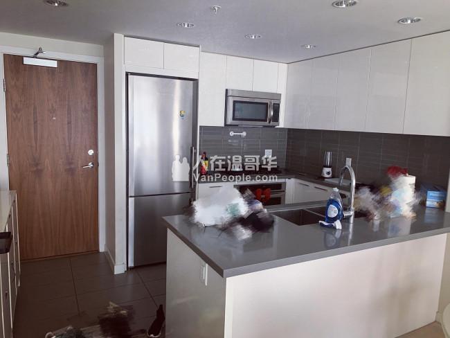 出租Metrotown天车站旁两室两卫豪华高层公寓配全套家具景色绝佳