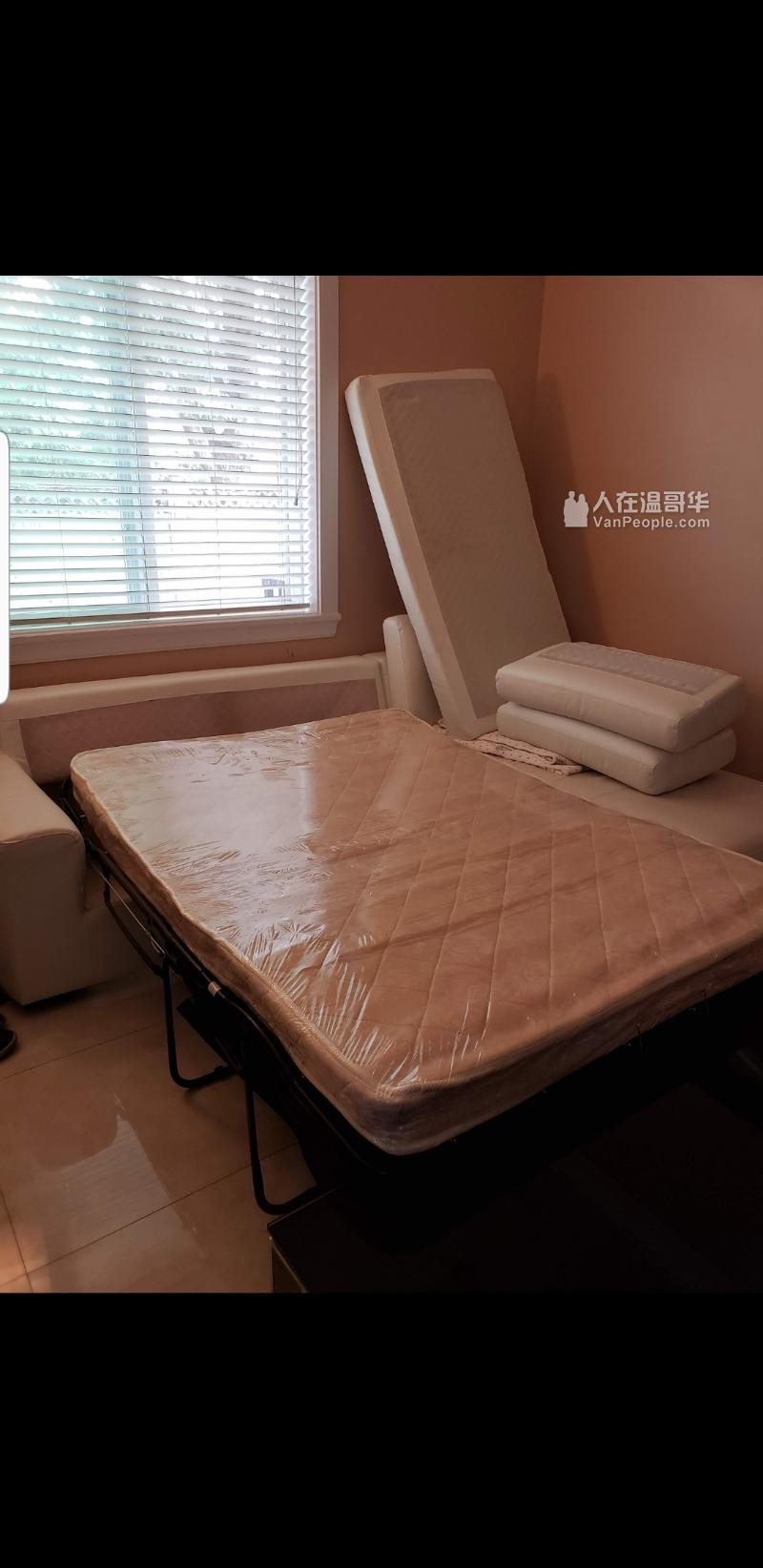 真皮白色沙发床八成新