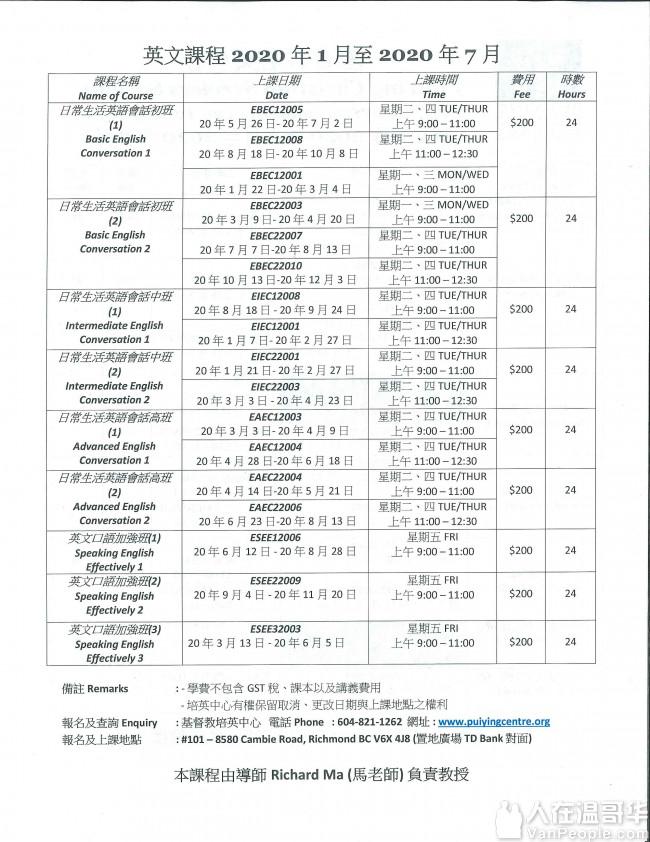 成人英語班 - 英語拼音, 會話, 入籍班 (Richard Ma 馬老師教授)