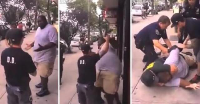 """白人警察""""锁喉""""黑人小贩致其死 美司法部不起诉"""